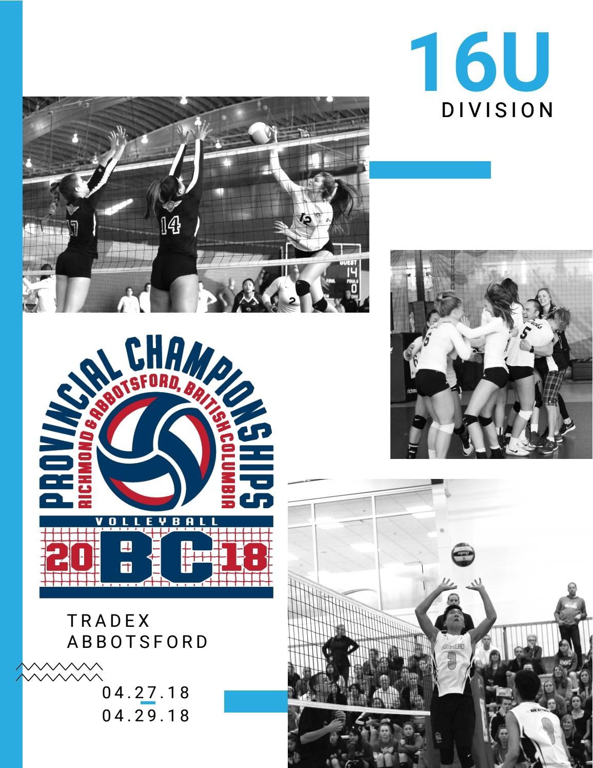 2018 16U Provincial Championship Program by Volleyball BC