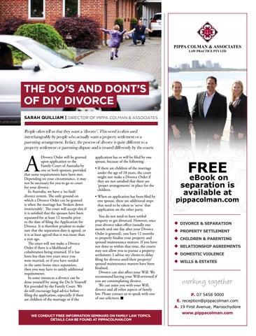 Profile magazine may 2018 by profile magazine issuu pippa colman associates law practice pty ltd the dos and donts of diy divorce solutioingenieria Choice Image