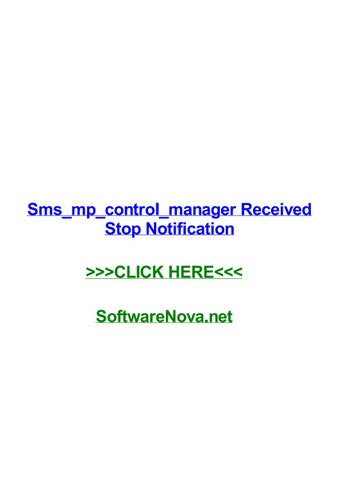 Sms mp control manager received stop notification by