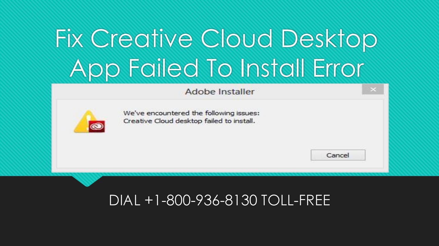 Fix creative cloud desktop app failed to install error by