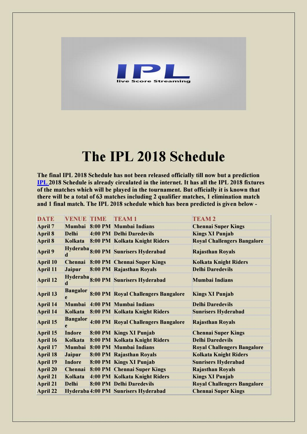 Download PDF of IPL 2018 Schedule with All Details by