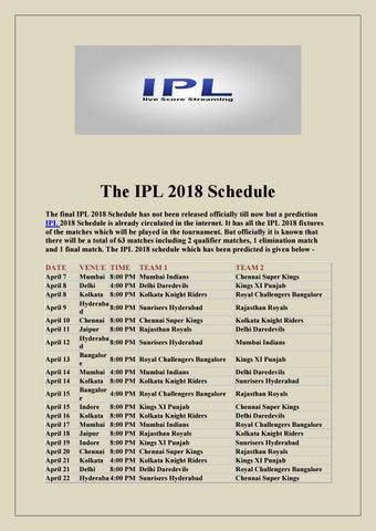 Ipl Match Schedule In Pdf