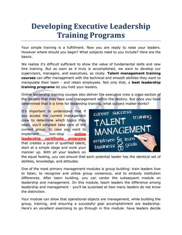 Developing Executive Leadership Training Programs By Tmlu