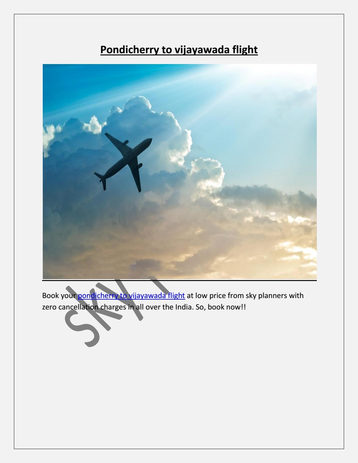 Pondicherry to vijayawada flight by skyplanners - issuu