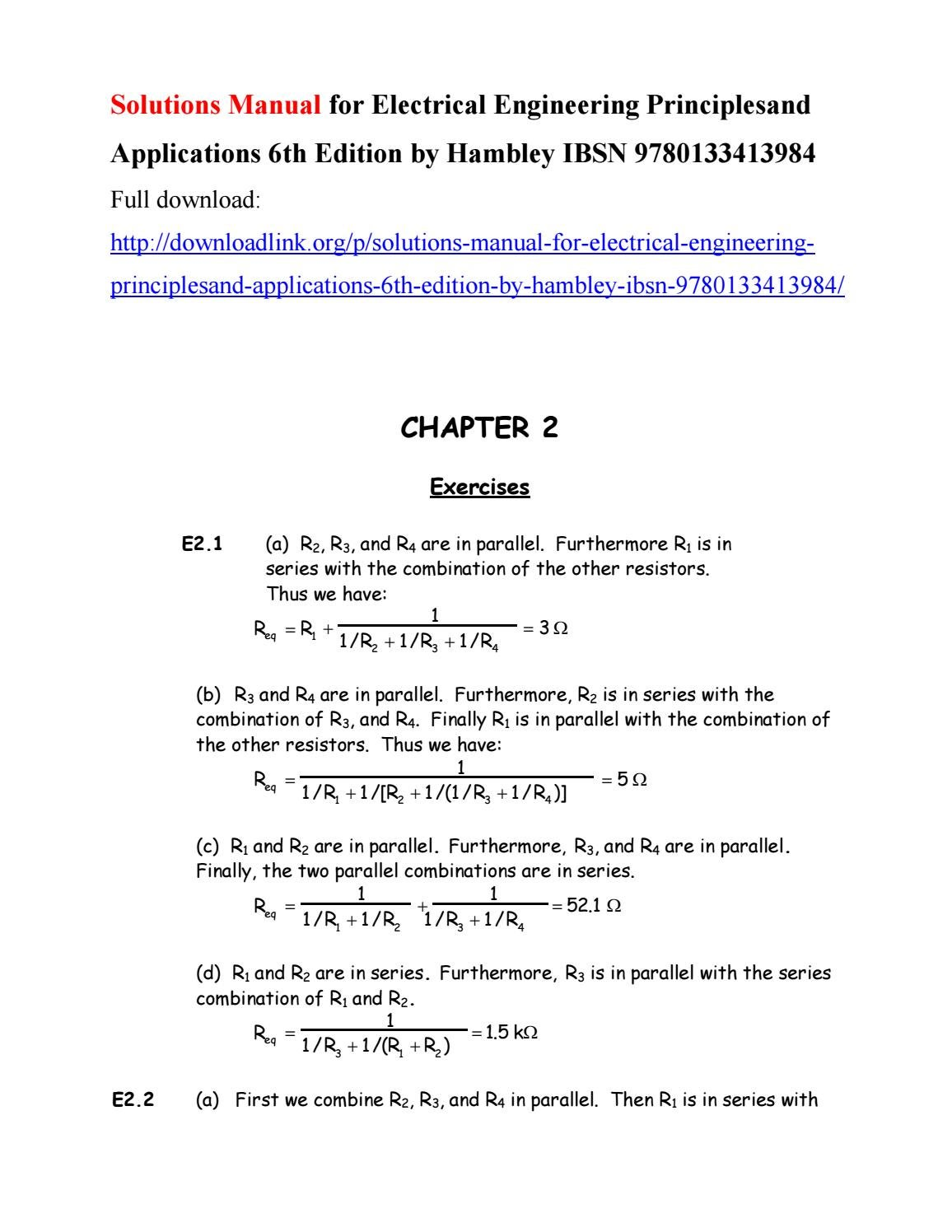 solutions manual for electrical engineering principlesand rh issuu com electrical  engineering allan r hambley 6th edition solutions Computer Engineering