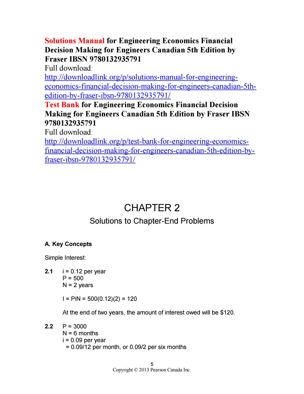 Solutions manual for engineering economics financial decision making for  engineers canadian 5th