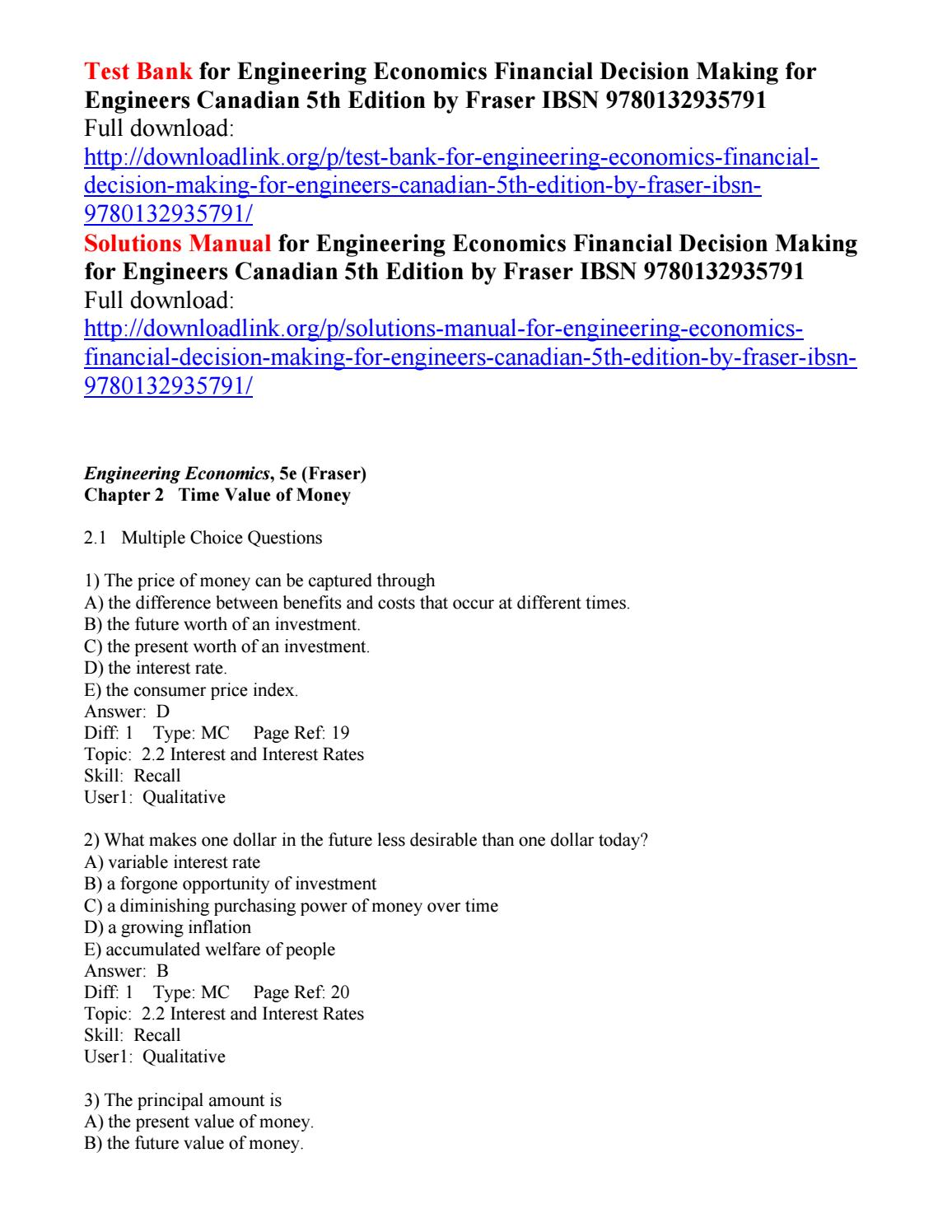 time value of money multiple choice questions and answers