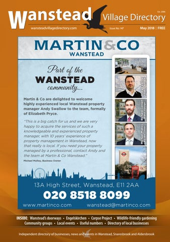 May 2018 by Wanstead Village Directory - issuu