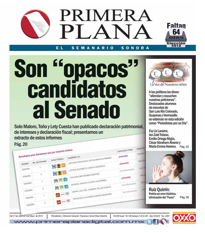 Edición del 27 de Abril al 3 de Mayo de 2018 by Semanario Primera ...