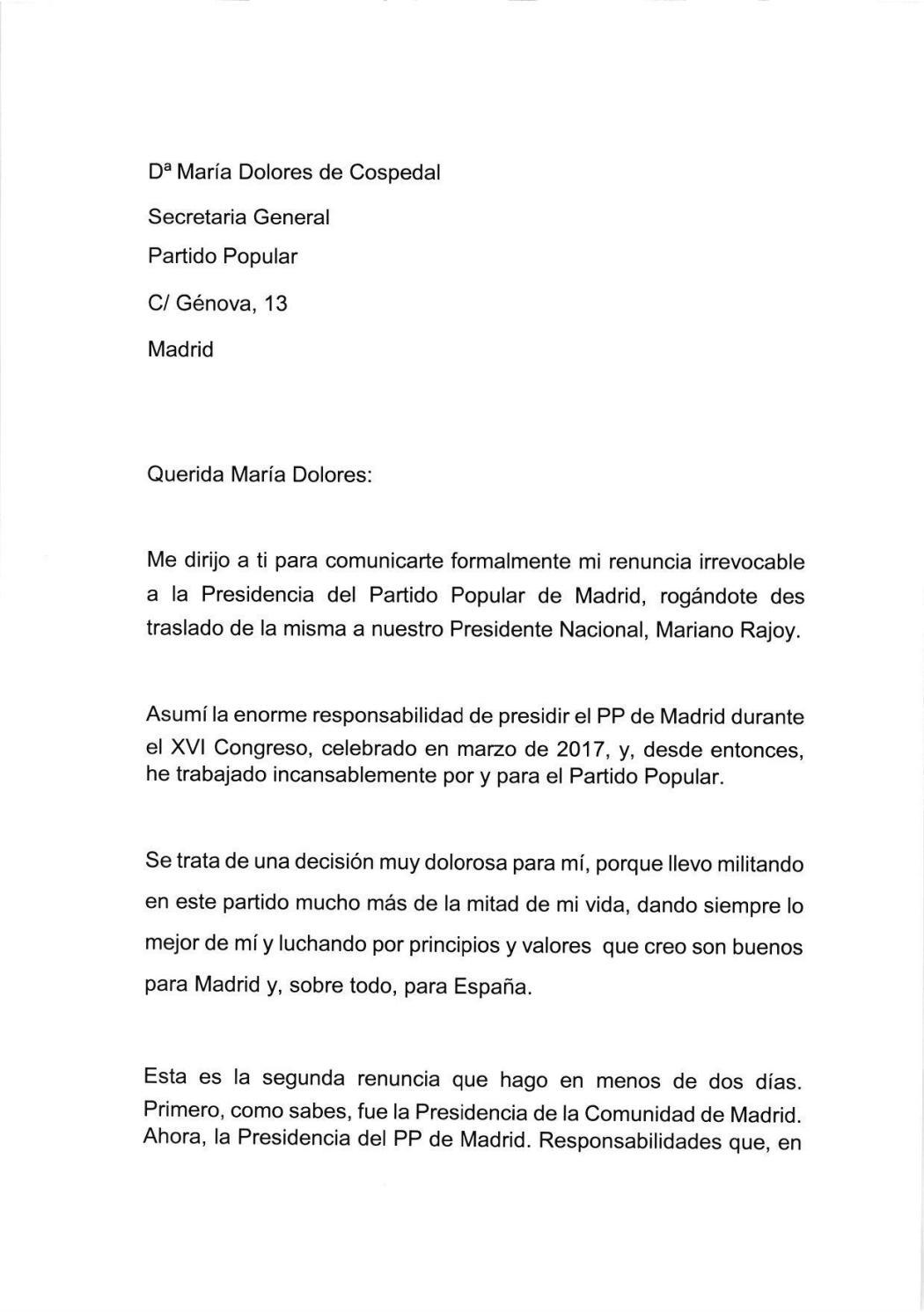 carta de renuncia de cifuentes by elespanol6