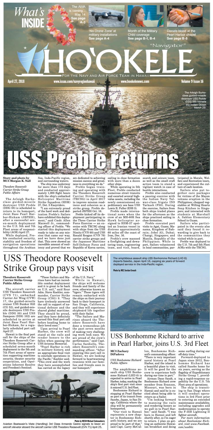 Ho'okele - April 27, 2018 (Pearl Harbor-Hickam Newspaper) by