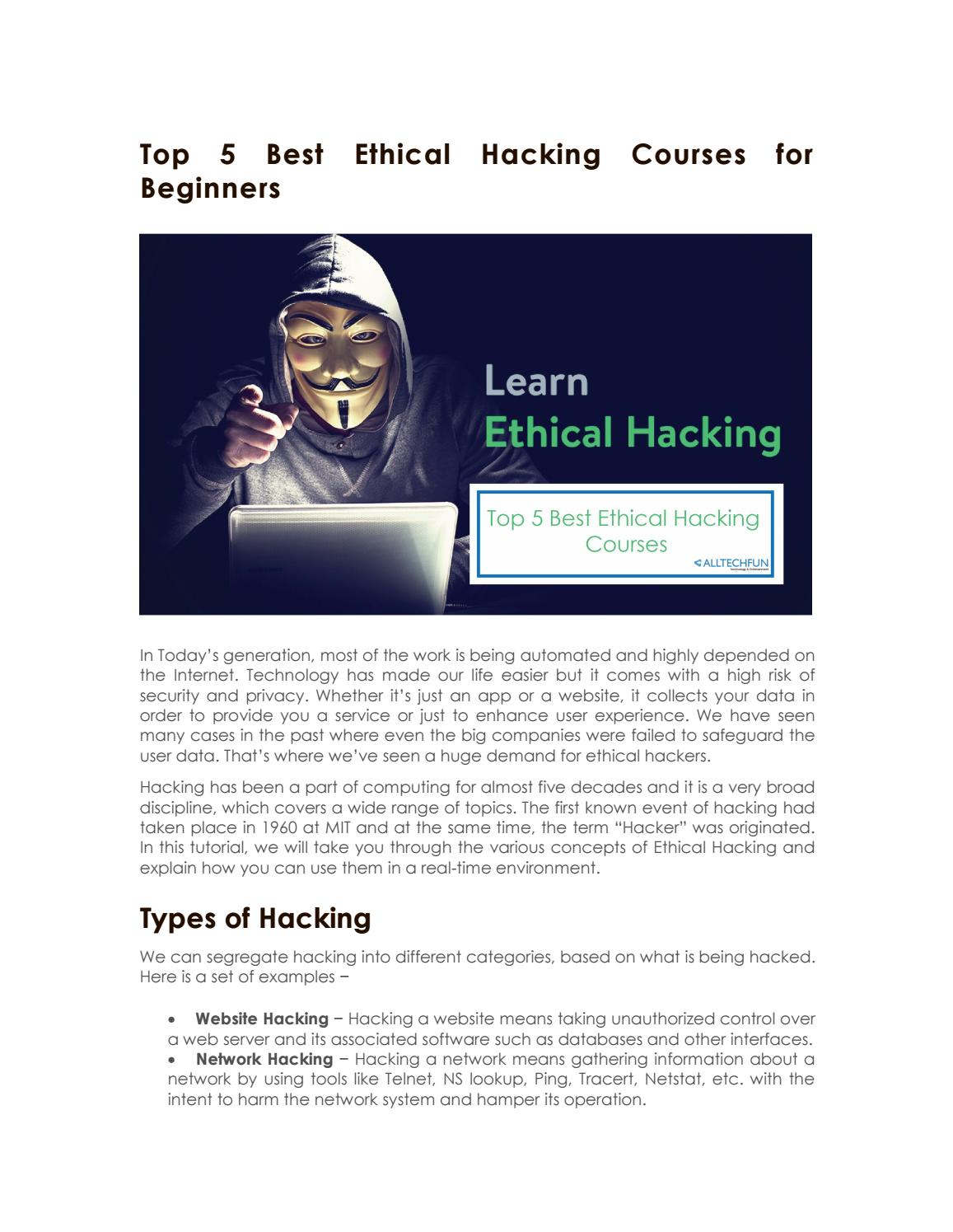 Top 5 best ethical hacking courses for beginners by manjunath8495