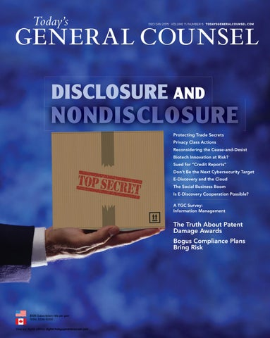 Today's General Counsel, V11 N6, December 2014/January 2015