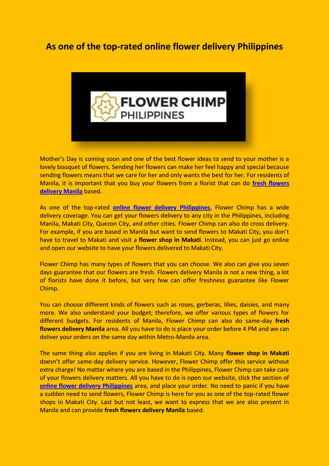 As One Of The Top Rated Online Flower Delivery Philippines