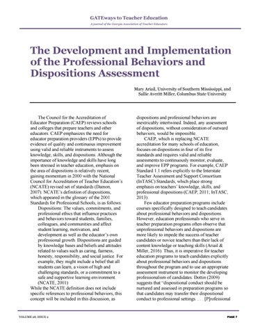 Page 11 of The Development and Implementation of the Professional Behaviors and Dispositions Assessment