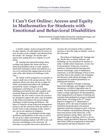 Page 28 of I Can't Get Online: Access and Equity in Mathematics for Students with Emotional and Behavioral Disabilities