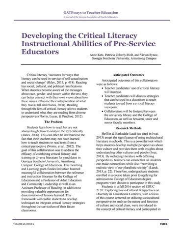 Page 5 of Developing the Critical Literacy Instructional Abilities of Pre-Service Teachers