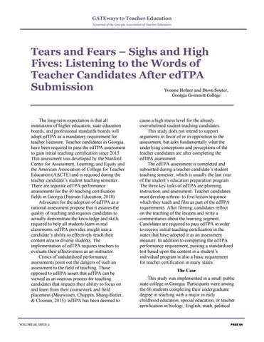 Page 68 of Tears and Fears - Sighs and High Fives: Listening to the Words of Teacher Candidates After edTPA Submission