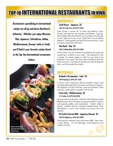 Top 10 International Restaurants In Nwa Specializing Cuisine Are All Up And Down Northwest Arkansas Whether You Enjoy Mexican