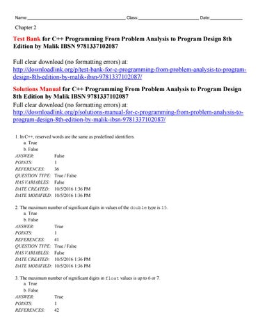 Test Bank For C Programming From Problem Analysis To Program Design
