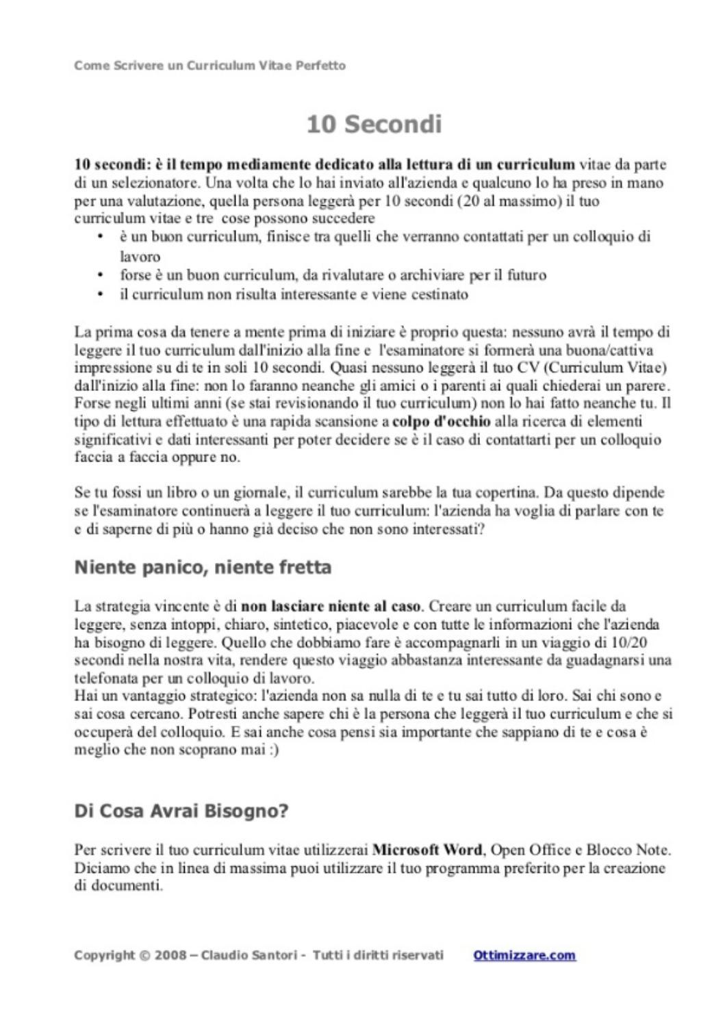 Come Scrivere Un Curriculum Vitae Perfetto Claudio Santori