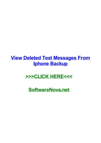 View deleted text messages from iphone backup by noelhfhpr