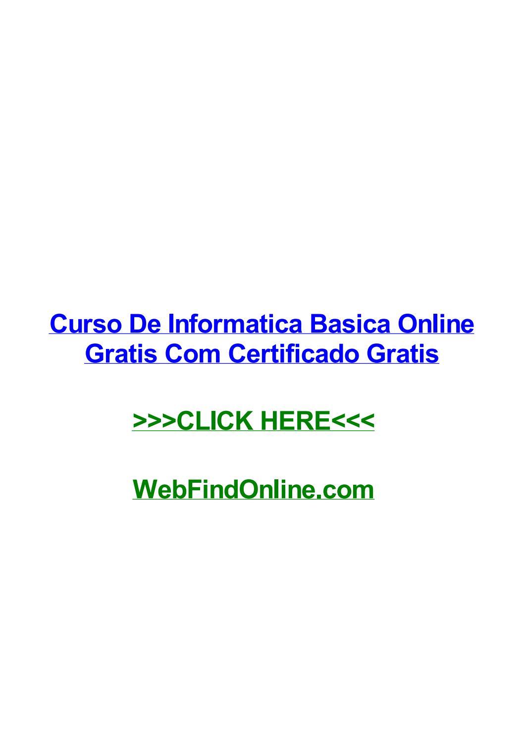 Curso De Informatica Basica Online Gratis Com Certificado Gratis By Biyajloow Issuu