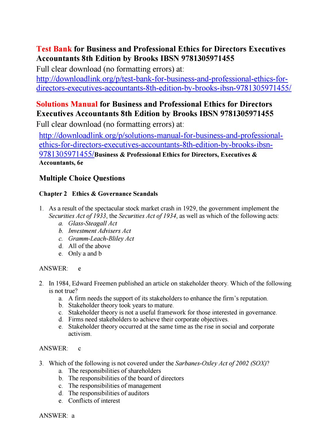 test bank for business and professional ethics for directors rh issuu com NordicTrack Act Manual MCO P1000.6G Acts Manual