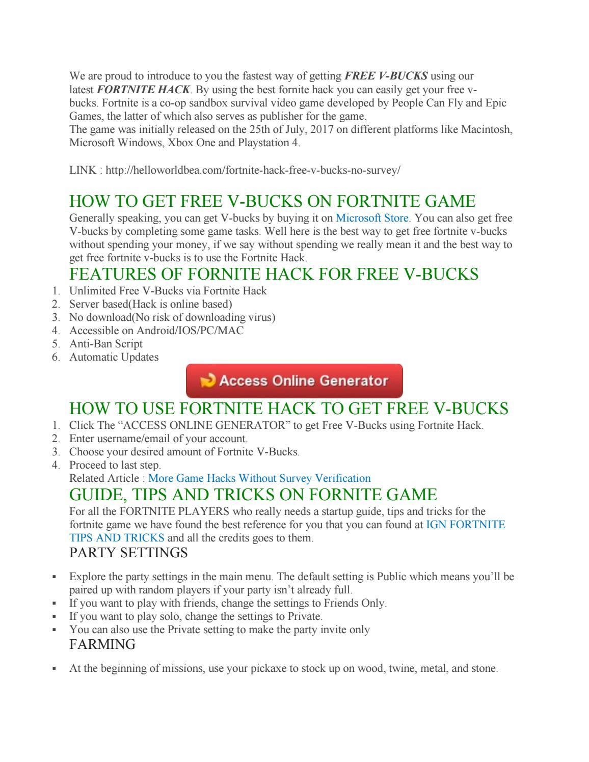 Free Fortnite V Bucks No Survey Glitch By Fortnite Free V Bucks