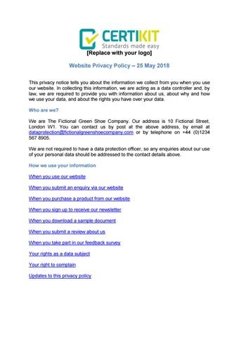 Example website privacy policy by Public IT Limited - issuu