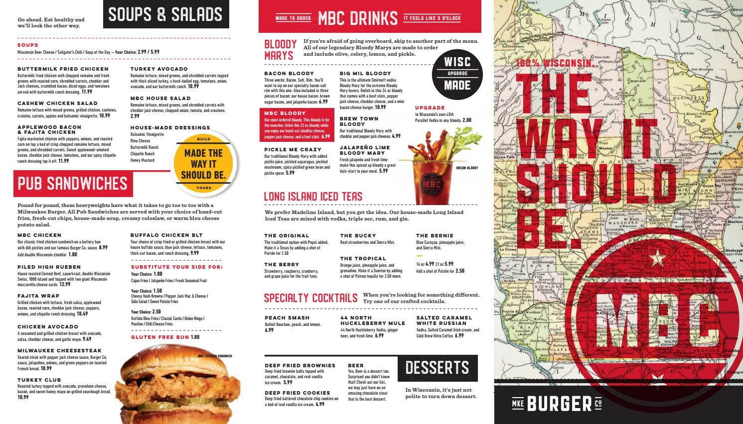 Menu for Milwaukee Burger in Eau Claire, WI by Mike Paulus