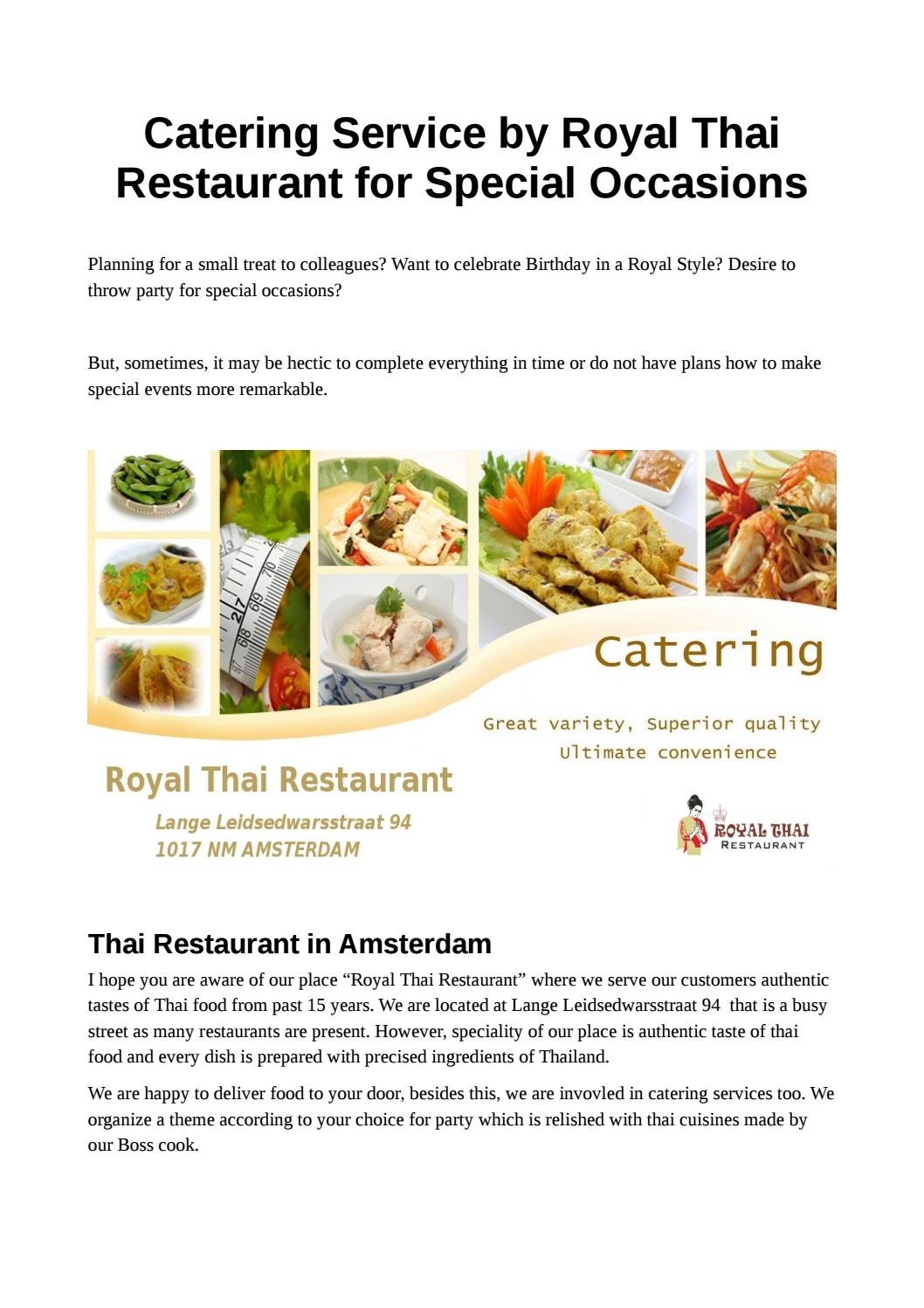 Catering Service By Royal Thai Restaurant For Special Occasions