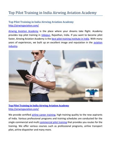 Top pilot training in india airwing aviation academy by Airwing
