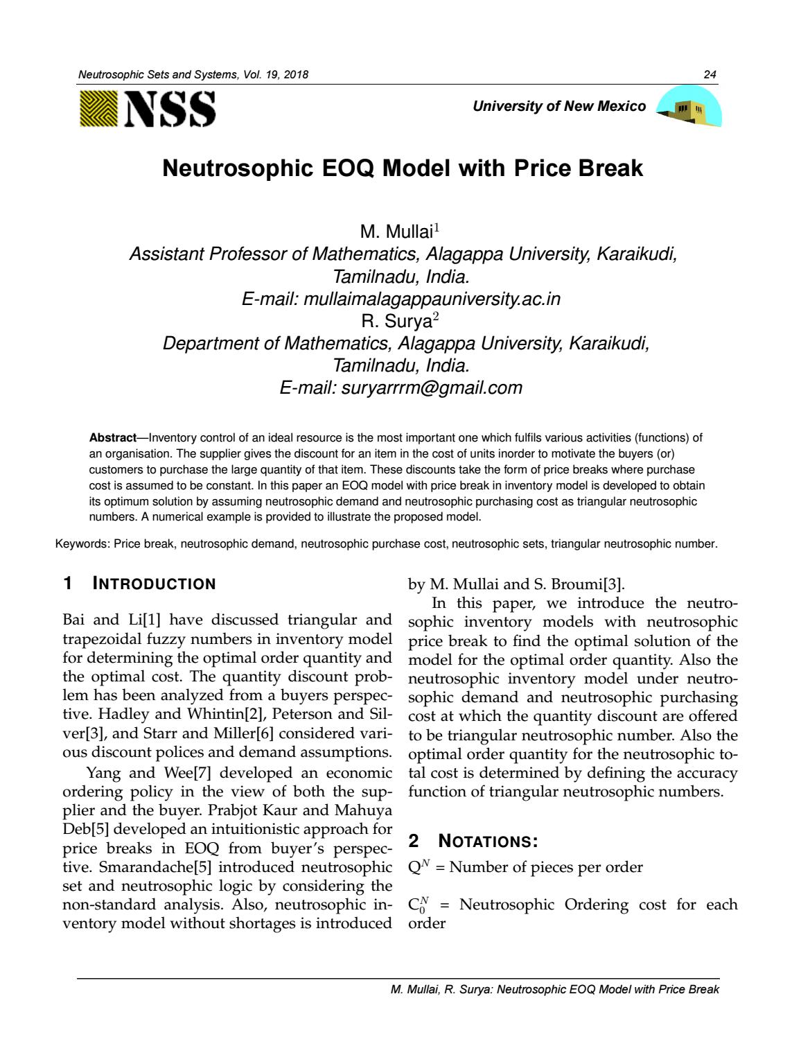 Neutrosophic EOQ Model with Price Break by Ioan Degău - issuu