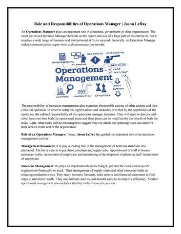Role And Responsibilities Of Operations Manager Jason Leday By Jason Leday Issuu