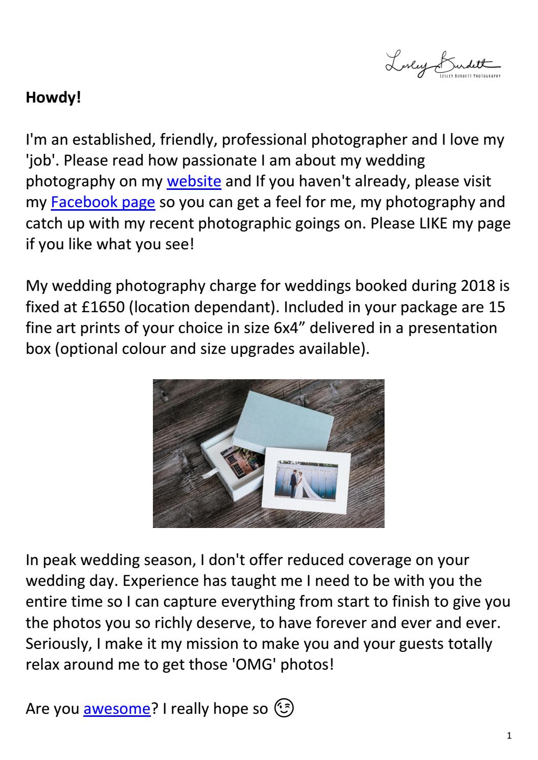 Lesley Burdett Photography Pricing 2018 by