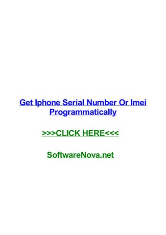 Get iphone serial number or imei programmatically by ronaldcdoe - issuu