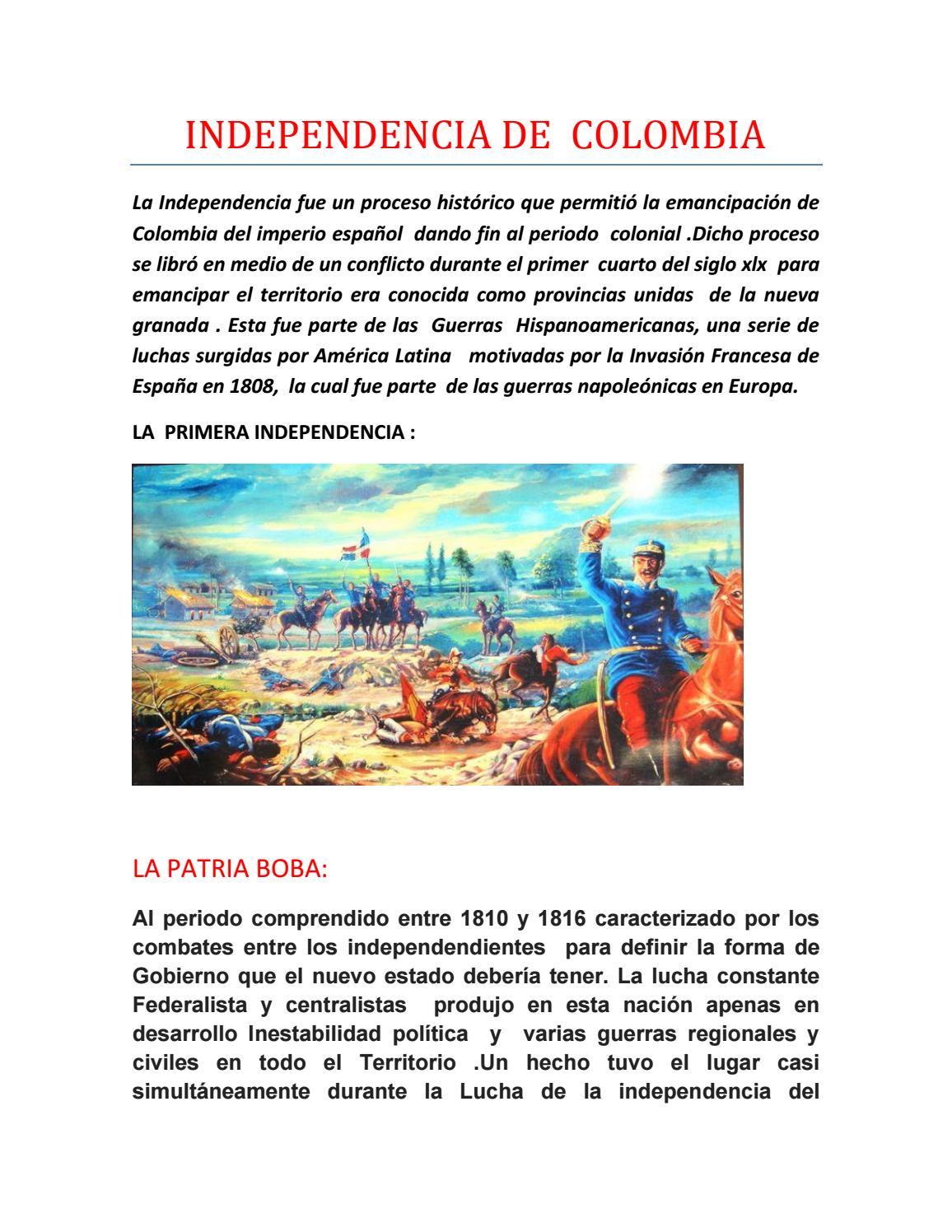 Independencia De Colombia Trabajo 1 By Maria Del Carmen Espinosa Issuu