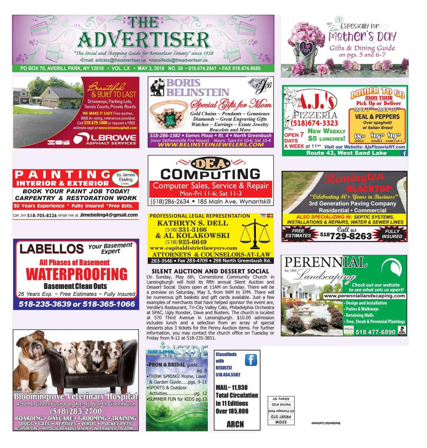 2aa9f28705 Advertiser North 050318 by Capital Region Weekly Newspapers - issuu