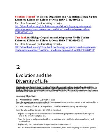 Solutions manual for biology organisms and adaptations media update