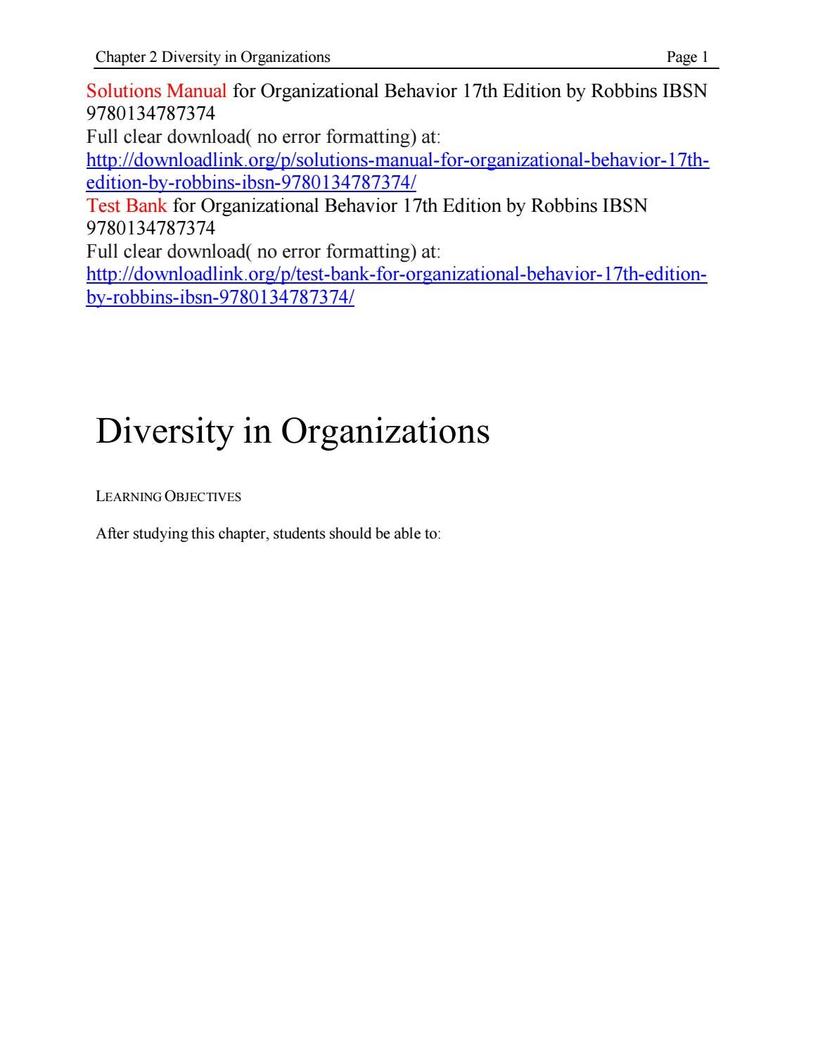 Solutions manual for organizational behavior 17th edition by robbins ibsn  9780134787374 by James912 - issuu