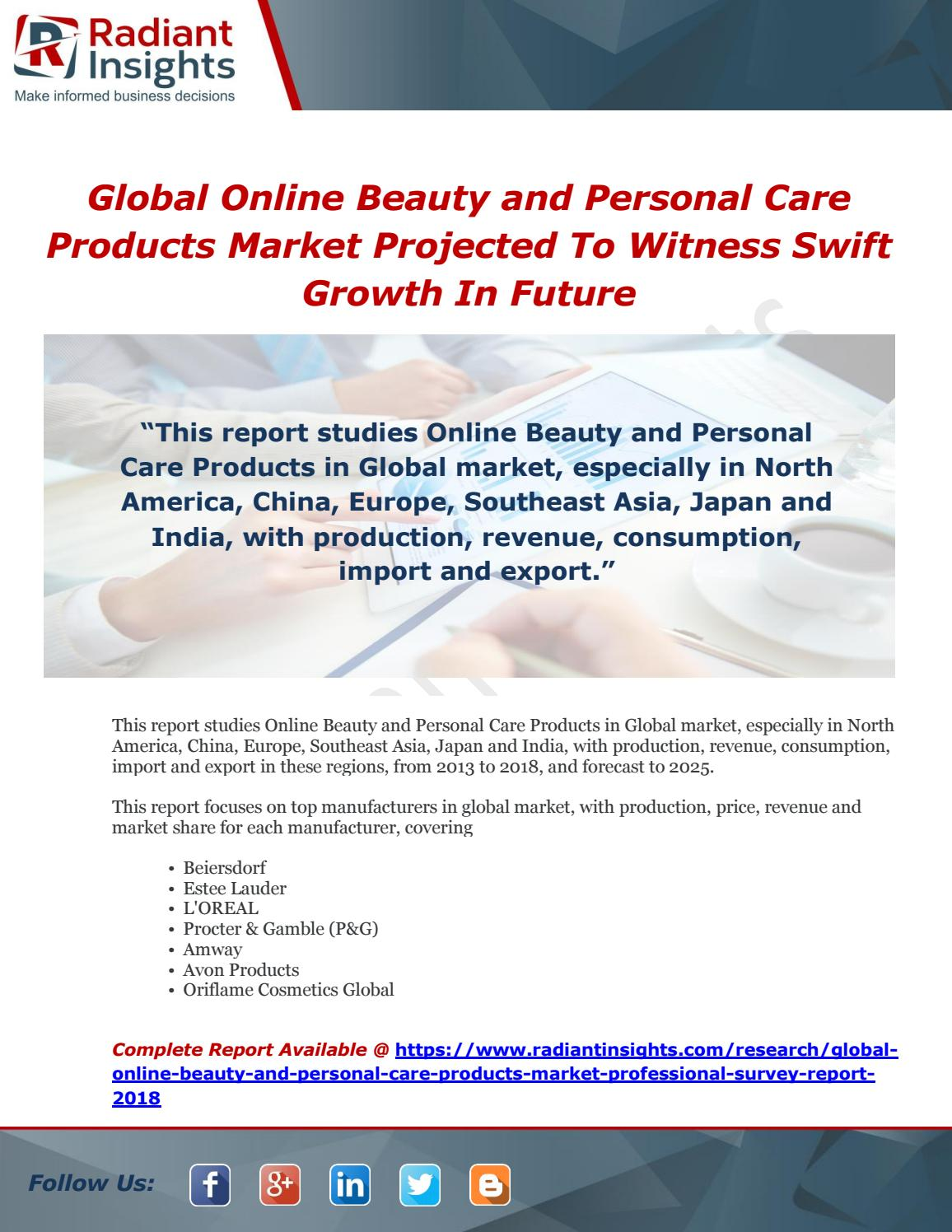 Global online beauty and personal care products market projected to