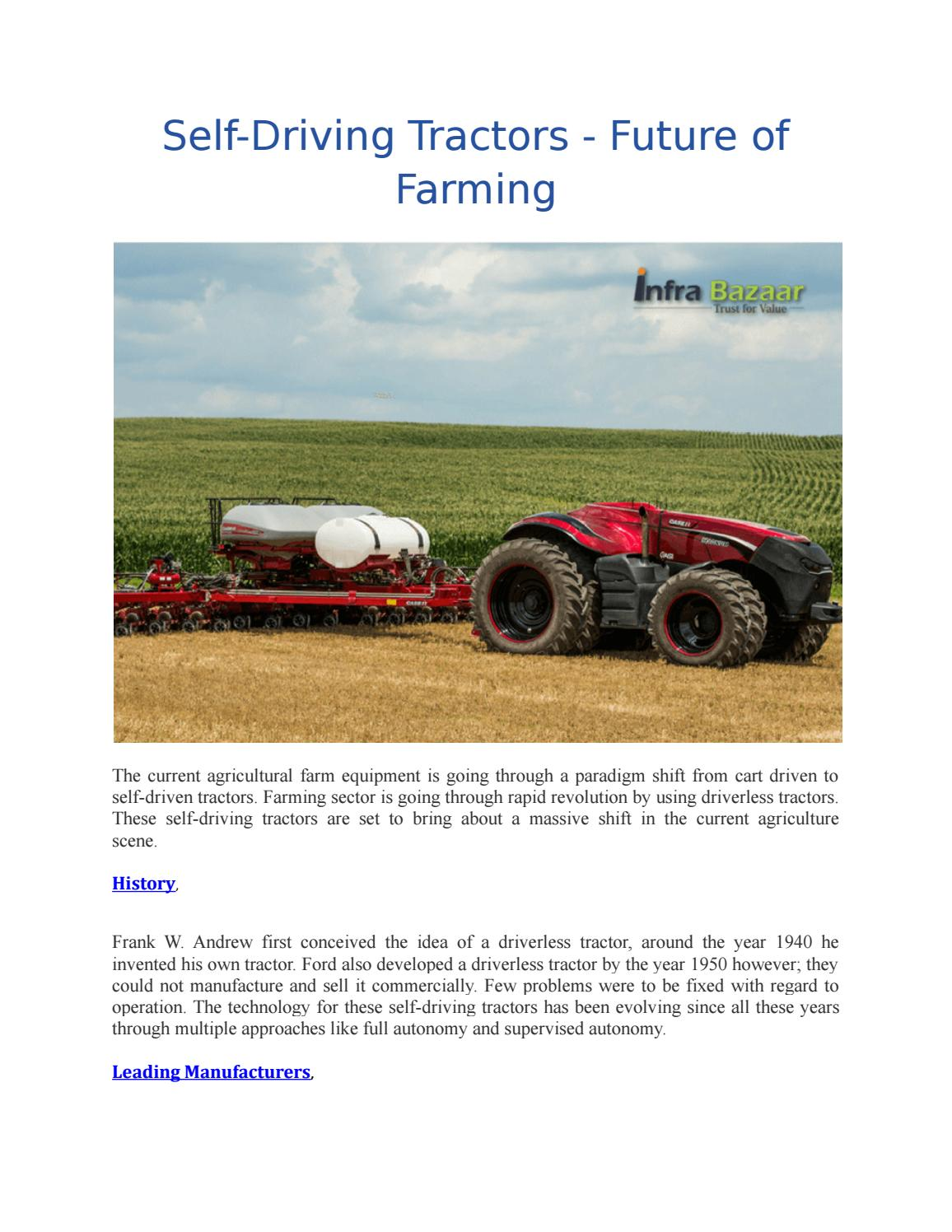 Self driving tractors future of farming by Vajrala Gowtham Reddy - issuu