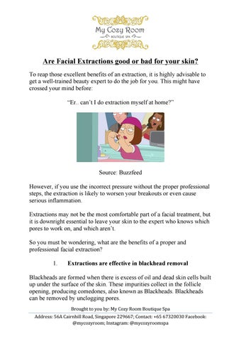 Are facial extractions good or bad for your skin? by mycozyroomspa