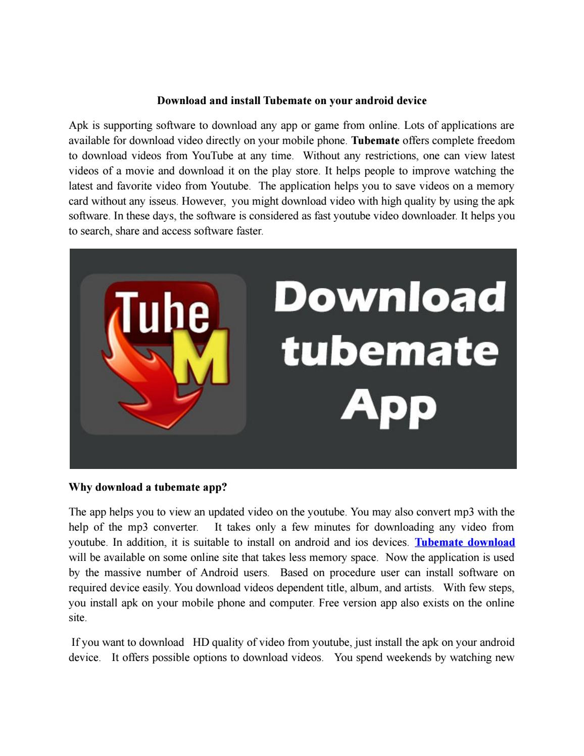 Download and install tubemate on your android device by