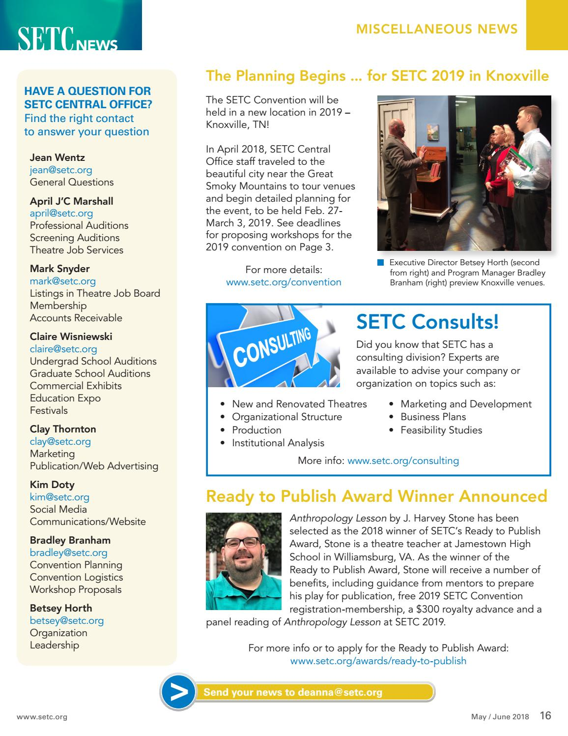 SETC News May/June 2018 by Southeastern Theatre Conference