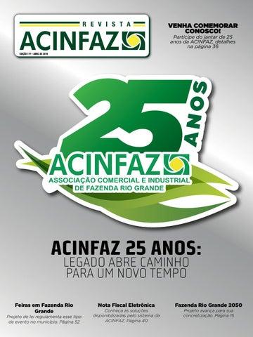 VENHA COMEMORAR CONOSCO! Participe do jantar de 25 anos da ACINFAZ,  detalhes na página 36 2e8c0e458f