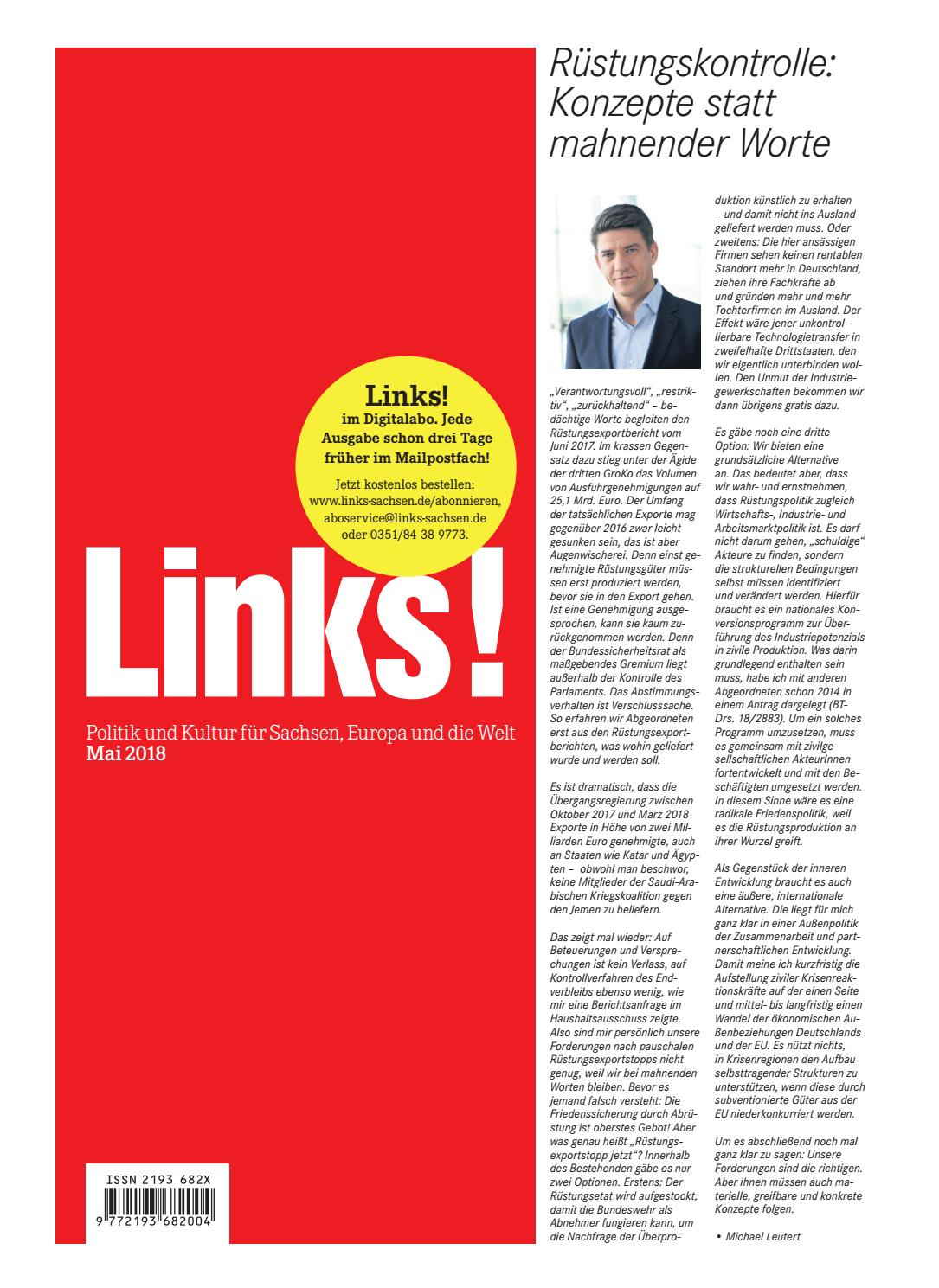 LINKS! 5/2018 by LINKS! Politik und Kultur für Sachsen, Europa und die Welt  - issuu