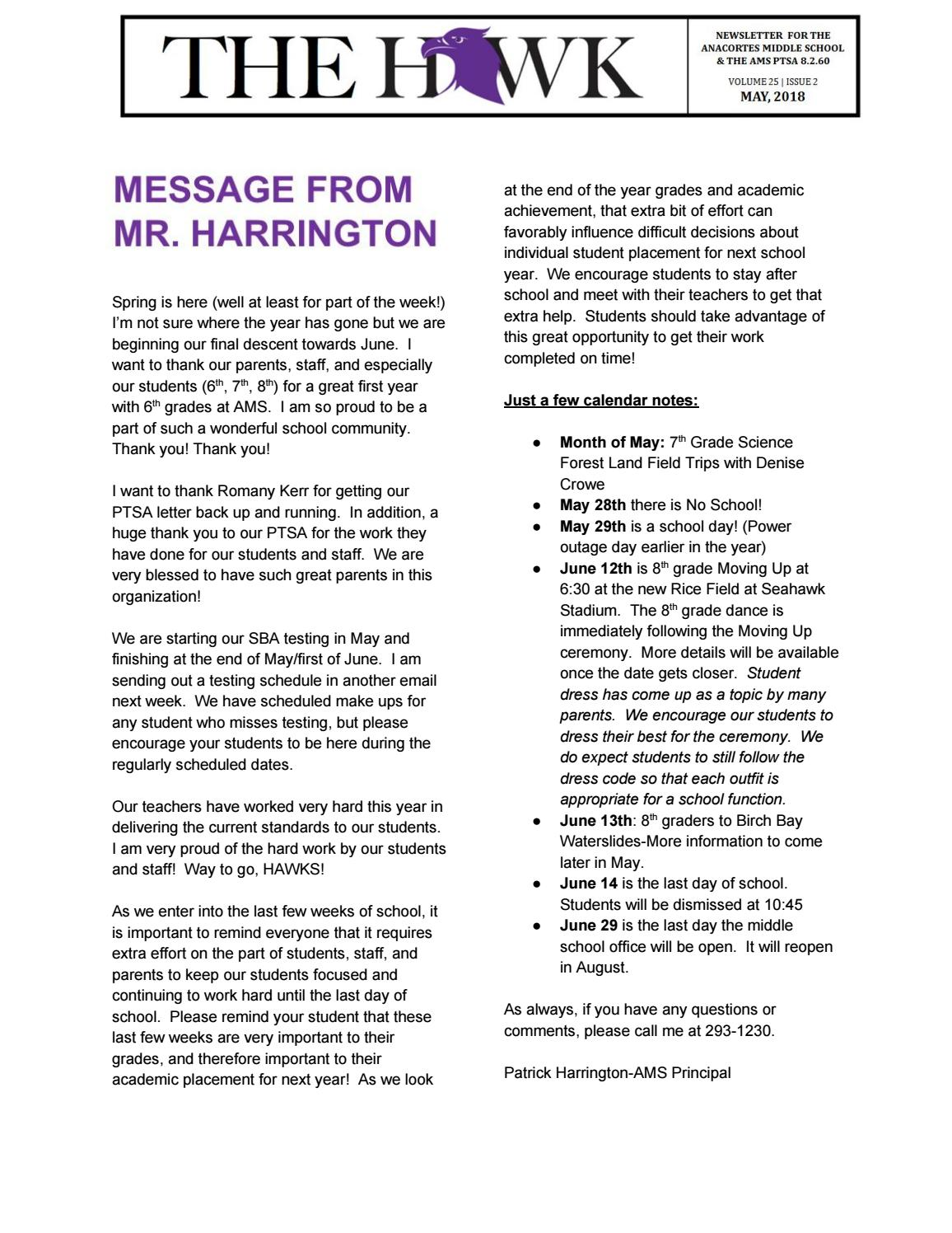 Anacortes Middle School Hawk May Newsletter By Anacortes Middle