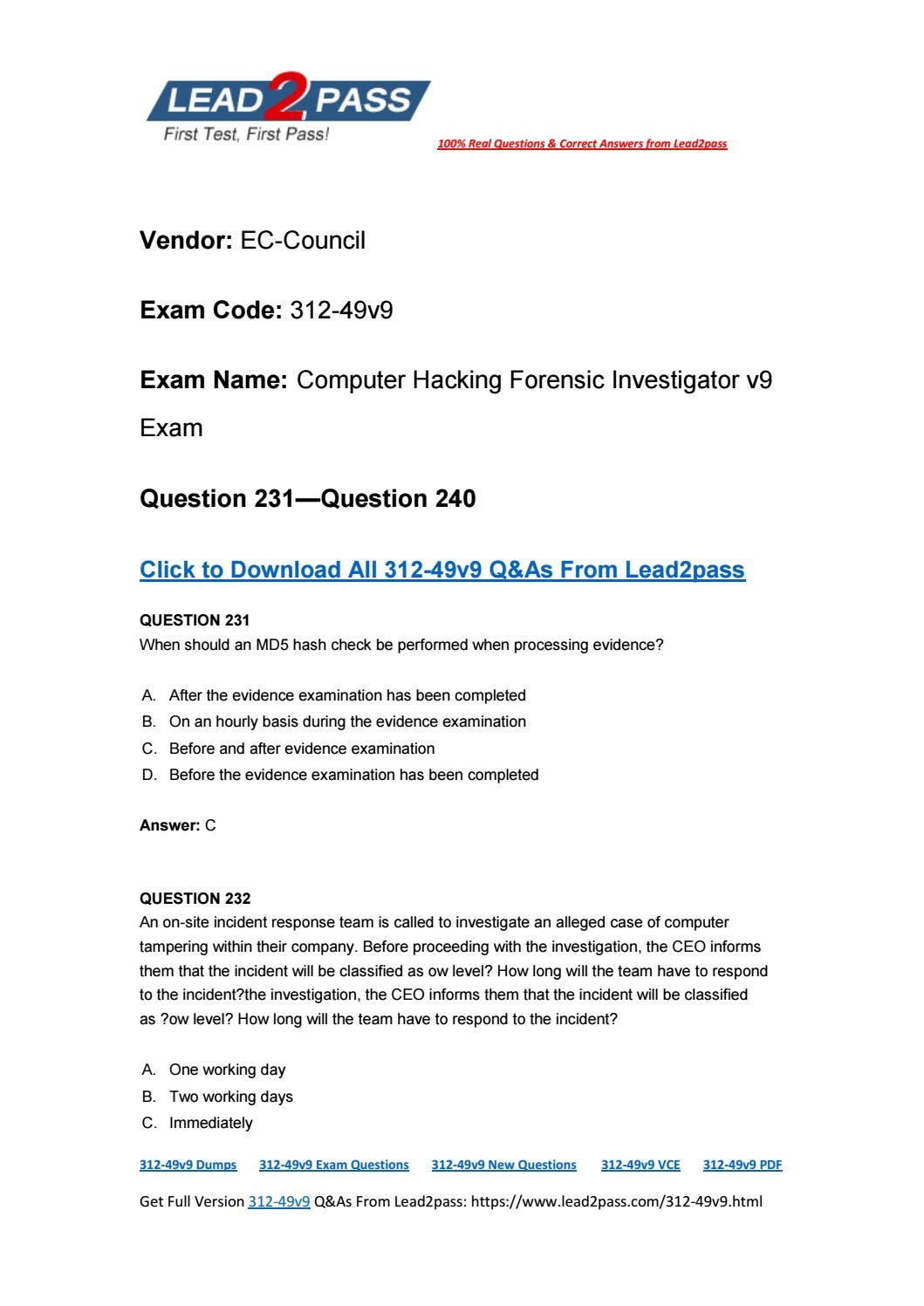 312-49v9 Exam Question From Lead2pass (231-240) by magichou1